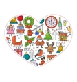 New Year s banner in the shape of heart vector image