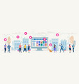 on-line shopping and network vector image vector image