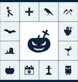 pumpkin icon halloween set simple sign vector image