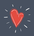 red heart on dark vector image vector image