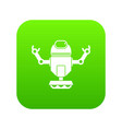 robot on wheels icon digital green vector image vector image