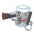 sailor with binocular miniature accrodion in the vector image