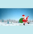 santa claus walking with bag of presents vector image