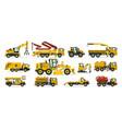 set construction equipment excavator tractor vector image