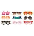 set modern colorful sunglasses summer beach vector image