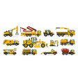 set of construction equipment excavator tractor vector image vector image