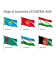 set of flags of central asia on sticks vector image vector image