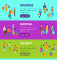 shopping people 3d banner horizontal set isometric vector image vector image