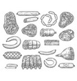 sketch icons of meat products and sausages vector image vector image