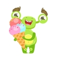 Smiling Funny Monster Holding Ice-cream In Cone vector image vector image