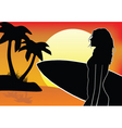 surfer chick vector image vector image