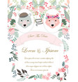 teddy bear in flower garden frame wedding card vector image vector image