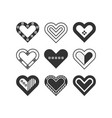 trendy black silhouette assorted hearts icons set vector image vector image