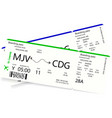two airline boarding passes vector image vector image
