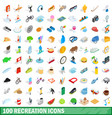 100 recreation icons set isometric 3d style vector image vector image
