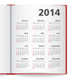 2014 Calendar in notebook vector image vector image