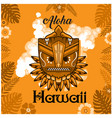 aloha hawaii tribal mask leaves orange background vector image