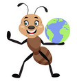 ant with planet earth on white background vector image vector image