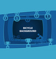 bicycle abstract background with paper cut shapes vector image vector image