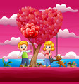 boys giving girls red a heart shaped air balloons vector image vector image