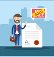 businessman with real state document of sold house vector image