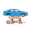 car repair process colorful vector image vector image