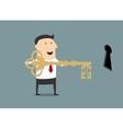 Cartoon businessman with golden key of success vector image vector image