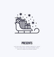 christmas gifts on sleigh new year presents vector image