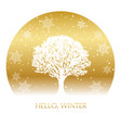 circle winter background with a snow-covered tree vector image vector image