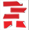collection of red labels with rounded corners vector image