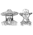 cowboy face close up sheriff and mexican man in vector image