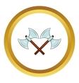 Crossed double axes icon cartoon style