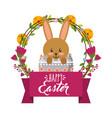 cute rabbit inside broken egg frame floral vector image