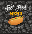 fast food sketch menu with cartoon hot dog vector image vector image