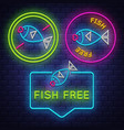 fish free badge collection allergy sign neon sign vector image