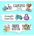 Fitness sketch banner set vector image vector image