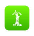 freedom statue icon green vector image