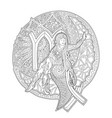 girl on moon and zodiac sign virgo vector image vector image
