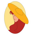 girl with yellow hat on white background vector image vector image