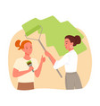girls workers painting wall repair service young vector image
