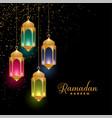 golden colorful islamic lanterns ramadan kareem vector image