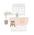 hand-drawn bathroom with bath carpet books chair vector image
