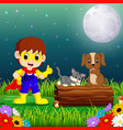 happy super hero boy at night in the park with pet vector image vector image