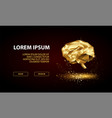 landing page with low poly golden brain vector image vector image