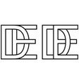 logo de ed icon sign two interlaced letters d e vector image vector image