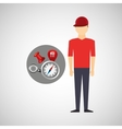 Man red tshirt collection navigation elements