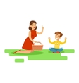 Mom And Son Having Picnic Happy Family Having vector image vector image
