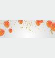 orange balloons celebration background template vector image
