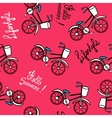 Pink pattern with retro bicycles vector image vector image