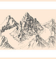 rocky mountains peaks fog surrounding top of vector image vector image